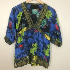 2326559c980b4 Pre-Owned Women s Johnny Was Floral Boho Silk Blouse XS