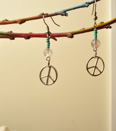 Peace sign - dirty hippie earrings (: