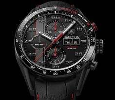 """TAG Heuer Carrera NISMO Calibre 16 Special Edition Watch For Le Mans 2015 - by David Bredan - see & read more on aBlogtoWatch.com """"The TAG Heuer Carrera Nismo Calibre 16 is the brand's latest watch dedicated to the legendary (and arguably world's most important) endurance race: 24 Hours of Le Mans. This highly successful relationship between TAG and Le Mans all started in the 1970s..."""""""