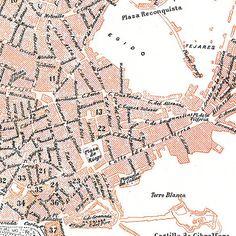 Malaga Vintage City Plan Street Map 1920s Spain by carambas, $14.00