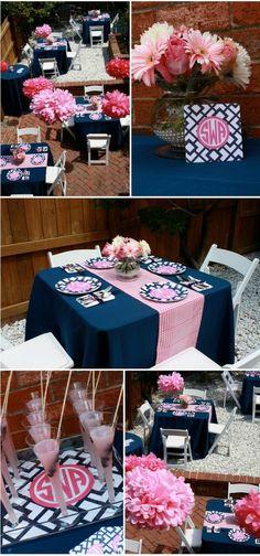 Bridesmaids luncheon! Love the navy & pink mono.