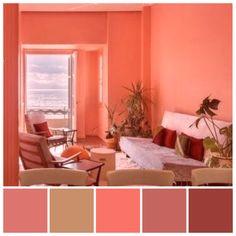 Coral Reef Color, Orange Paint Colors, Coral Colour Palette, Coral Reefs, Coral Living Rooms, Interior Paint Colors For Living Room, Paint Colors For Home, Color Melon, Rose Gold Room Decor