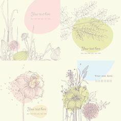 Flower, flowers, pattern, line drawing, cute, elegance, light, vector material free vector