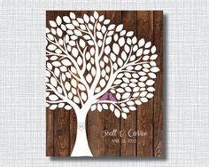 Wedding Tree On Wood Background Guestbook by GatheredNestDesigns