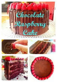 "Original pinned said: The most INSANE Chocolate raspberry cake recipe! Caught my mom standing over it on the counter eating and saying, ""I can't stop! Chocolate Raspberry Cake, Chocolate Flavors, Chocolate Cake, Rasberry Cake, Chocolate Butter, Cupcakes, Cupcake Cakes, Köstliche Desserts, Delicious Desserts"