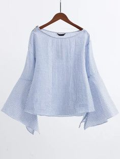 Shop Blue Boat Neck Slit Bell Sleeve Blouse With Zipper online. SheIn offers Blue Boat Neck Slit Bell Sleeve Blouse With Zipper & more to fit your fashionable needs.