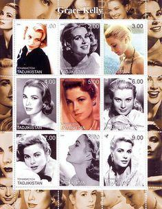 Stamp Tadjikistan Grace Kelly