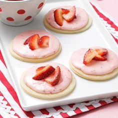 Strawberry Shortcake Cookies Recipe -Strawberry shortcake is one of my favorite desserts. I thought it would be great to capture all that wonderful flavor in a cookie. The pastry-like cookie is topped with pink strawberry frosting. —Allison Anderson, Avondale, Arizona