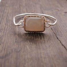 Sterling Silver Gemstone Bracelet, Chalcedony Cuff, Gold and Silver Bracelet, Hammered Wire Bracelet, Rectangle Stone, Silver Jewelry by ShillyShallyjewelry on Etsy