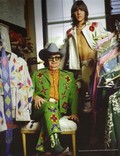 Gram Parsons, of The Byrds, with Nudie Cohn, designer of those fab suits.