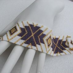 Elegant Enchantment Peyote Cuff Bracelet 2439 by SandFibers