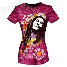 This sheer jersey tie dye colored tee features Bob Marley One Love and has constrasting stitch. Bob Marley is pictured smiling. The background has flowers all around. At the bottom One Love is printed in a circle surrounded by the printing: Bob Marley in groovy block letters.Catch A Fire line of Bob Marley clothing. These items are for the avant garde (experimental and pushing the boundaries of the time). All items feature a slim fit body designed for style and comfort.Sheer Cotton Jersey…
