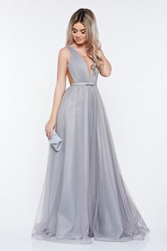 Ana Radu occasional net grey dress with v-neckline bow accessory Bridal Dresses, Bridesmaid Dresses, Prom Dresses, Formal Dresses, Dress Outfits, Dress Up, Fashion Outfits, Tulle Bows, Plus Size Kleidung