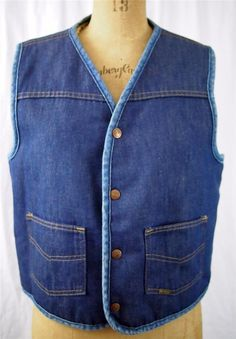 vtg 70s SEARS Roebucks Sherpa Fleece Western Denim Jean Vest Trucker Biker M EUC #SearsRoebucks