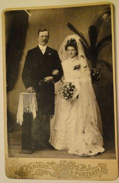 Russia empire Antique Cabinet card Husband and Wife wedding cabinet photo