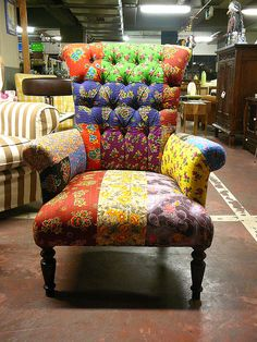 furniture: colorful patchwork chair