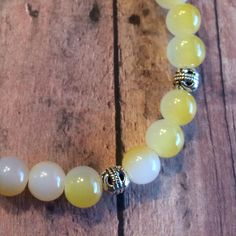 Yellow and Silver  Beaded Bracelet by DungleBees on Etsy, $24.99