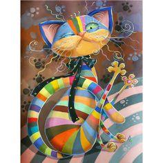 Diy 5D Diamond Painting Cat Embroidery Cross Crafts Stitch Rhinestone Home Decor