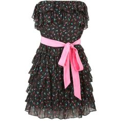 Armitidge Dress ($69) ❤ liked on Polyvore featuring dresses, vestidos, robes, short dresses, black flor, floral print cocktail dress, mini dress, embroidered dress, floral mini dress and silk floral dress