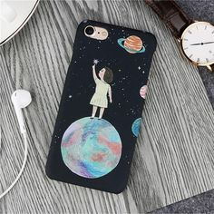LACK Cute Airship Planet Moon Phone Case For iphone XS Max X XR 8 7 6 6S Plus 5 5S SE Cover Cartoon Couples Cases Hard PC Capa Outfit Accessories From Touchy Style. | Free International Shipping. Cute Iphone 5 Cases, Cartoon Rose, Tumblr Phone Case, Couple Cases, Best Iphone, Iphone 6, Phone Mockup, Couple Cartoon, Mobile Covers