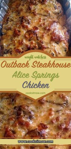 Outback Steakhouse Alice Springs Chicken, Alice Springs Chicken Recipe is a copy. - Outback Steakhouse Alice Springs Chicken, Alice Springs Chicken Recipe is a copycat of the Outback - Turkey Recipes, Meat Recipes, Cooking Recipes, Healthy Recipes, Recipes Dinner, Dessert Recipes, Weight Watcher Crockpot Recipes, Breakfast Recipes, Recipies