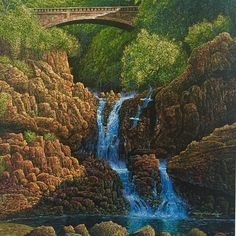 """A close-up of ROBERT LYN NELSON painting; Sunrise At Seven Pools""""  #art #realism #maui #travel #tourism # waterfall  @robertlynnelson.com"""