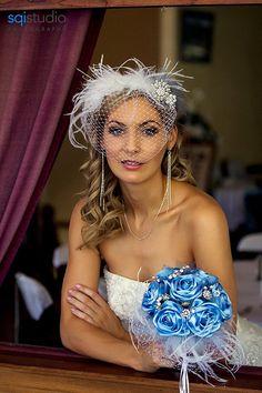 Blue Wedding Bouquet, Blue Bridal Bouquet by Bouquet By Rosa Loren