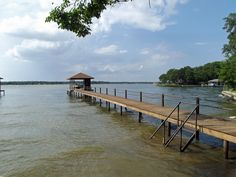 Pier and boat dock at Cedar Creek Lake south of Dallas.