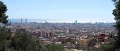 Panoramic view of Barcelona from the top of Park Güell.