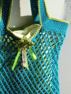 Cotton Mesh Bag w/ fabric liner. Love the colorway. Inspiration only.
