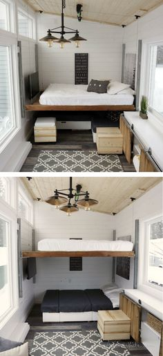 This clever elevating bed transforms a space from a cozy living room to spacious sleeping quarters.