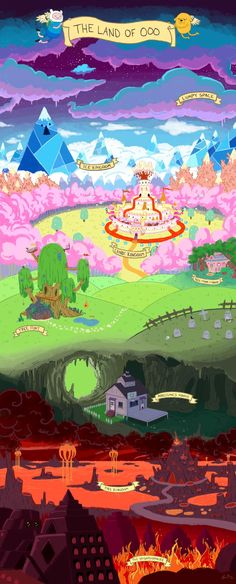 Adventure Time The Land of OOO. Seriously gonna print these pictures for posters. Adventure Time Anime, Adventure Time Wallpaper, Adventure Time Princesses, Adventure Time Background, Adventure Time Poster, Adventure Time Flame Princess, Adventure Time Drawings, Adventure Time Tattoo, Adventure Time Girls