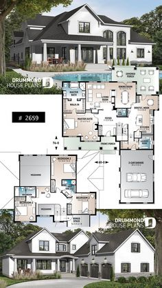 bedrooms, 4 bathroom house plan, garage, master suite with fireplace, large bonus room. Sims House Plans, New House Plans, Dream House Plans, Modern House Plans, House Floor Plans, Dream Houses, 5 Bedroom House Plans, Modern Farmhouse Plans, Farmhouse Homes