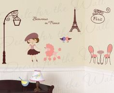 Paris France Trendy French Eiffel Tower Poodle - Bienvenue en France - Girl's Room Kids Baby Playroom Nursery - Wall Graphic Decor, Vinyl Decal Decoration, Decorative Mural Art Sticker by Decals for the Wall, http://www.amazon.com/dp/B00CN3YYPO/ref=cm_sw_r_pi_dp_QLW0rb0K1YPR5
