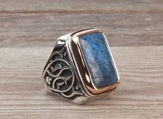 925 K Sterling Silver Gemstone Man Ring With Natural Lapis Stone (All Sizes) #istanbulJewelry #Statement