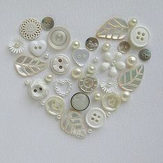 all white button heart.... what a pretty handmade wedding or anniversary card this would make!