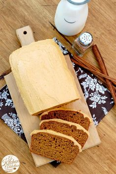Salted Caramel Pumpkin Buttercream Frosted Pumpkin Bread Recipe via @Jess Pearl Pearl Pearl Liu@ A Kitchen Addiction