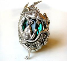 Silver Dragon Ring - Emerald Swarovski Gothic Ring - Women Fantasy  Gothic Jewelry by LeBoudoirNoir on Etsy