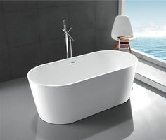 """Legion Amy - 67"""" Freestanding Double-Ended Oval Soaking Tub for 2"""
