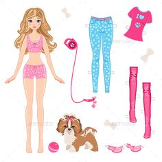Paper Doll with Clothes and Dog