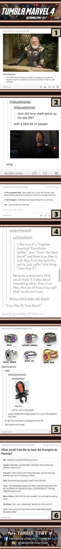Tumblr Marvel #4. The Thor and Hulk joke is hilarious...how'd I get that two years late?!