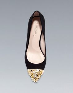 Zara Court Shoe with gold studded cap toe. Would love these for the festive season!