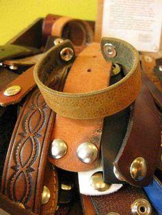 Torus Leather Bracelets, made from reclaimed belts.