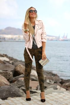 printed jeans + graphic tee + pastel leather jacket