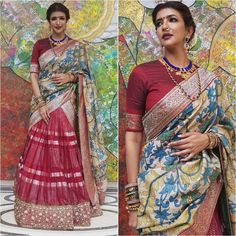 Throwback To 13 Latest Styles Seen On Celebs This Festive Season Silk Anarkali Suits, Banarasi Lehenga, Half Saree Lehenga, Saree Gown, Lehnga Dress, Lehenga Blouse, Half Saree Designs, Silk Saree Blouse Designs, Lehenga Designs
