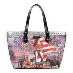 Women's Nicole Lee Cowgirl Flag Print Shoulder Bag Cowgirl Flag Silver