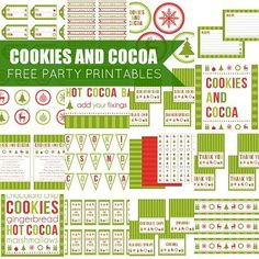 """Christmas Party Printable Set: """"Cookies and Cocoa"""""""