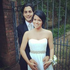 White prom dress with a black tux