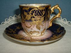 ANTIQUE LIMOGES GDA GERRARD DUFRAISSEIX AND ABBOT GILDED CABINETTE CUP & SAUCER #CupsSaucers