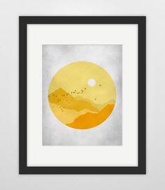 Mid Century Modern Art, Graphic Art, Modern Nursery Decor - Orange Yellow and Grey. $18.00, via Etsy.